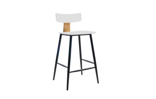 כיסא בר BAZIL לבן-חרדל