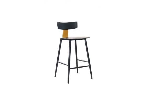 כיסא בר BAZIL שחור-חרדל